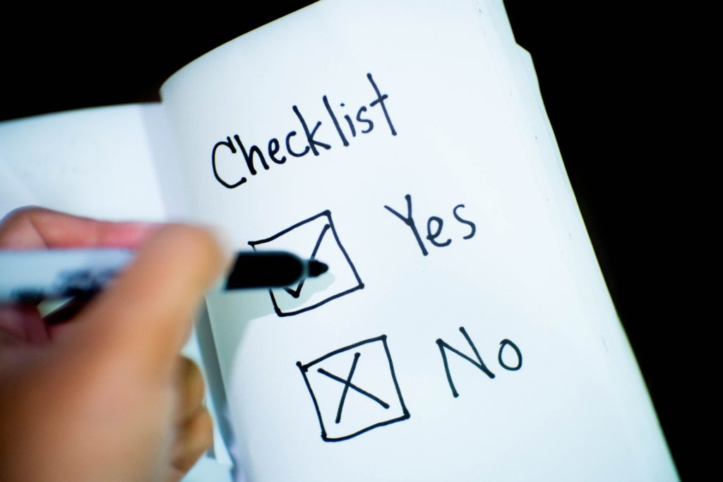 Checklist yes or No