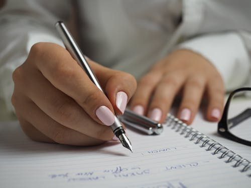 a person is writing